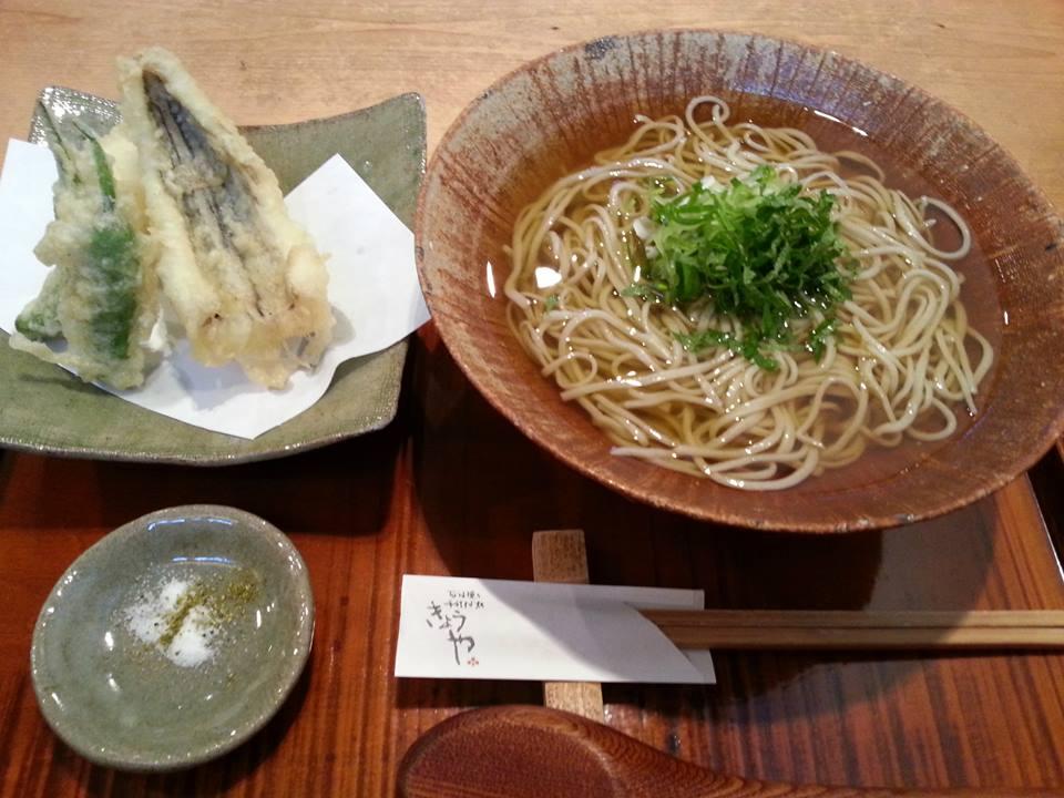 きょうや ひやかけそば+穴子の天ぷら